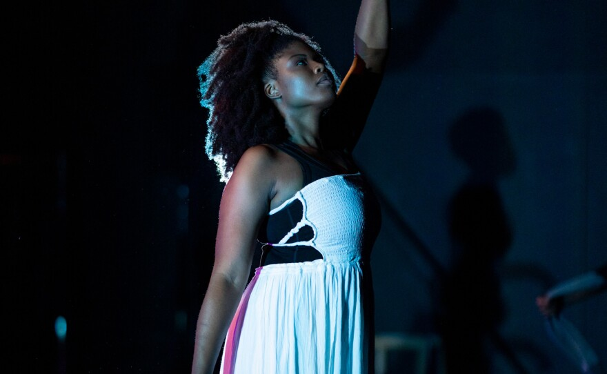 """Joy Yvonne Jones, one of the organizers of San Diego Black Artist Collective's week-long """"Say It Loud"""" Juneteenth festival of theater, music and poetry, is pictured in a performance of """"Get On Board,"""" one of the new plays that premieres June 16, 2021."""
