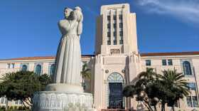 The entrance to the San Diego County Administration building in this file photo taken Dec. 13, 2020.