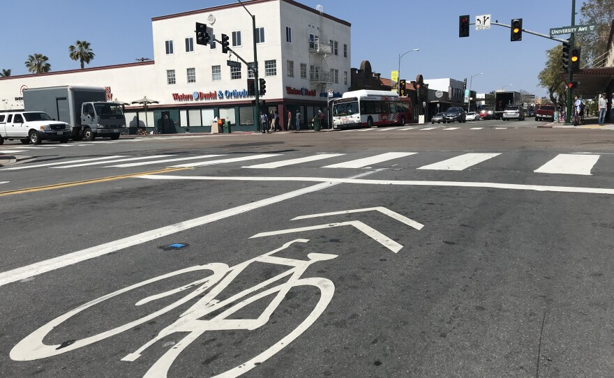 """A painted """"sharrow"""" on 30th Street in North Park indicates cyclists and drivers must share the same lane, March 25, 2019."""