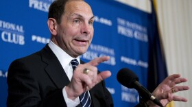 Veterans Affairs Secretary Robert McDonald speaks about his efforts to improve services veterans, Friday, Nov. 7, 2014, during a news conference at the National Press Club in Washington.