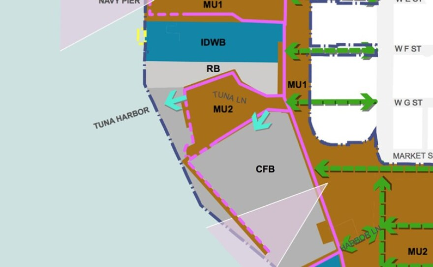 Pictured above is the new mixed-use overlay districts that replace the more granular planning elements in past Port Master Plan maps.