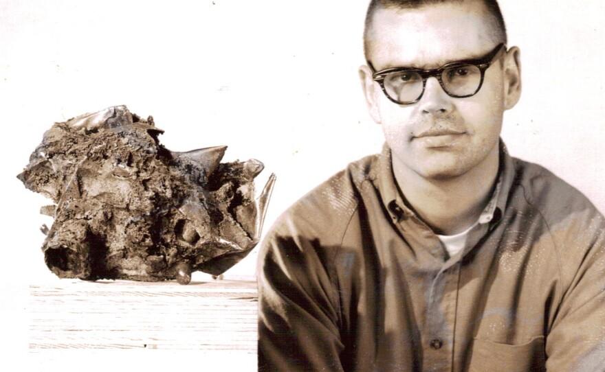 Portrait of Russell Baldwin with cast bronze sculpture, c. 1964. Photographer unknown, courtesy of Richard Allen Morris.
