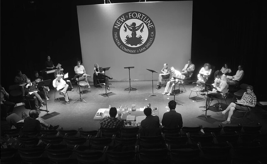 """New Fortune Theatre Company performing a staged reading of """"Troilus and Cressida"""" (July 25, 2015). They will be staging a reading of George Orwell's """"1984"""" on March 20 at San Diego Central Library."""