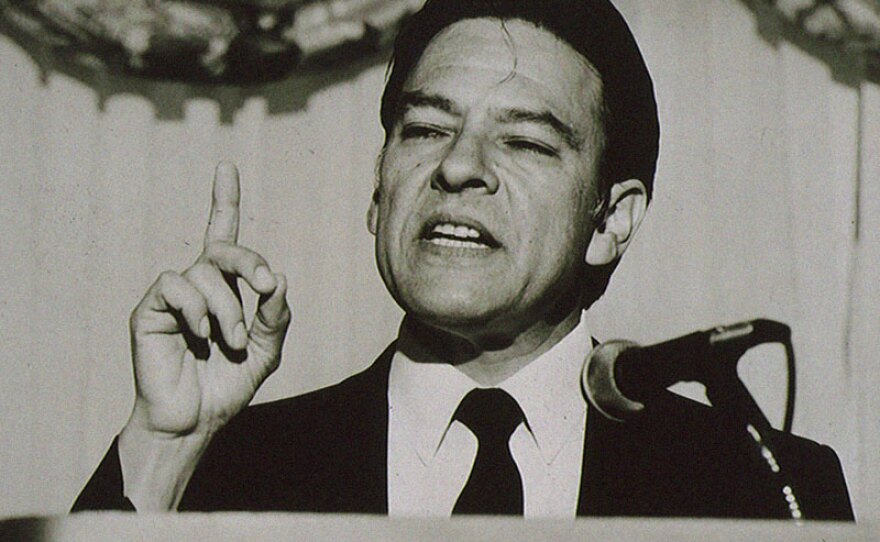 Willie Velasquez speaking at a Southwest Voter Registration and Education Event in 1988.