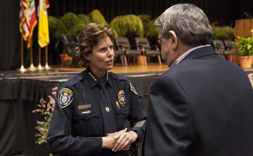 San Diego Police Chief Shelley Zimmerman is shown at the City Council inauguration ceremony, Dec. 10, 2014.