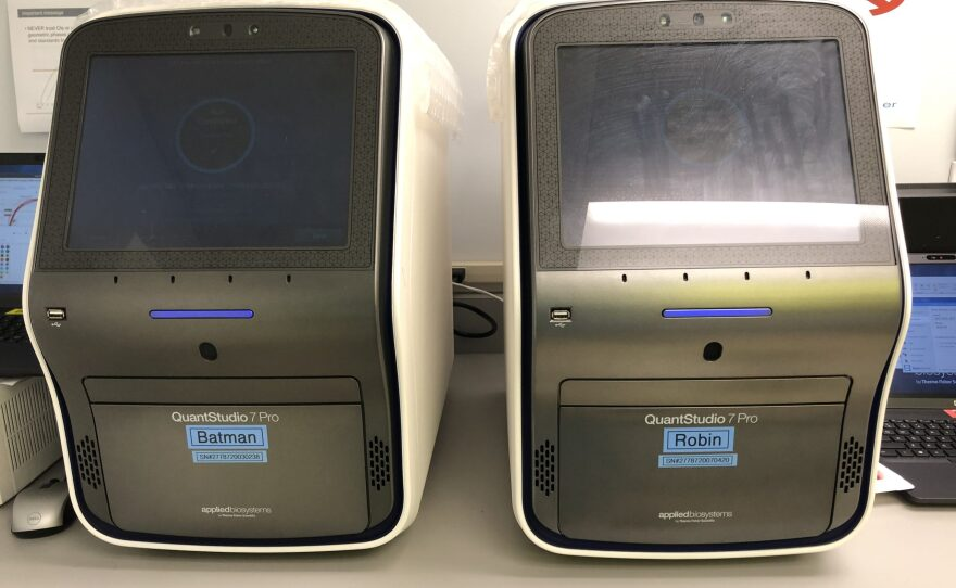 The machines shown in this photo read COVID-19 testing results at US Specialty Labs in San Diego.