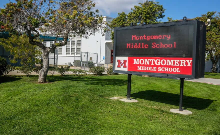 The Montgomery Middle School sign is pictured, Feb. 17, 2021.