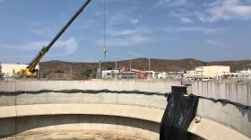 A crane working at the Oceanside Water Reclamation facility where a Purewater plant will turn wastewater into water that's clean enough to drink, on Sep. 17, 2020.