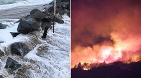 Flooding in Imperial Beach,  Jan. 18, 2019 (left); 2007 Witch Creek Fire (right).