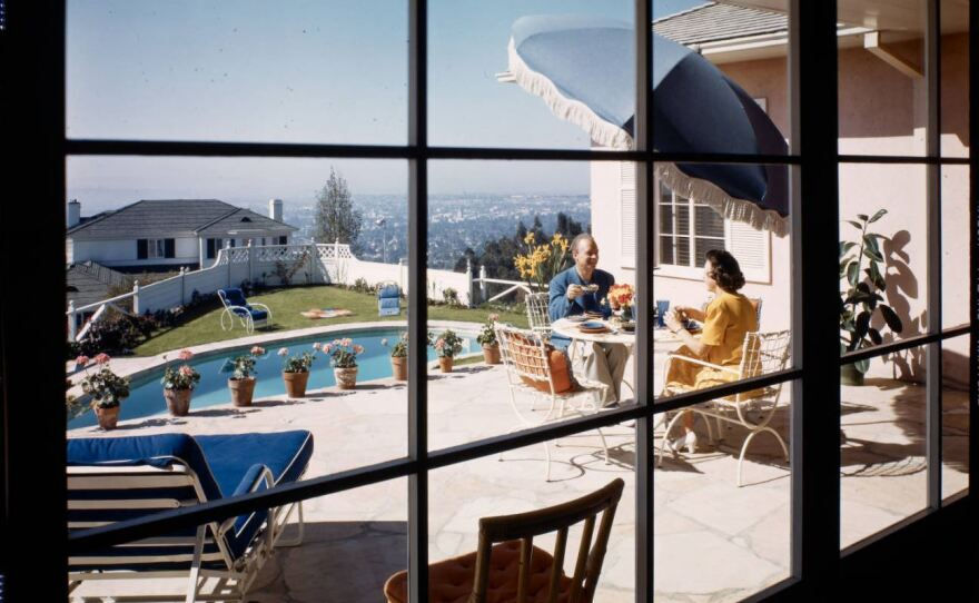 A California couple sitting on their patio in 1947.