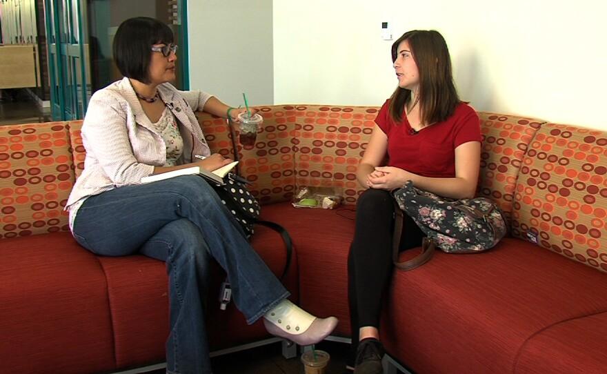 Juma Ventures college coach Marisela Chevez talks to San Diego State University freshman Hannah Medina during one of their regular check-in meetings.