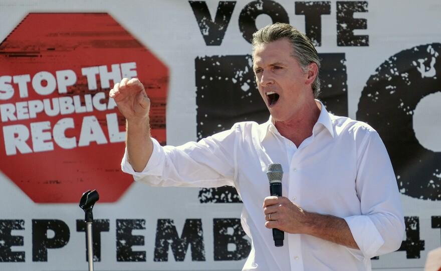 California Gov. Gavin Newsom speaks at a rally against the California gubernatorial recall election on Sunday, Sept. 12, 2021, in Sun Valley, Calif.