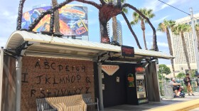 MTS officials decorated the San Diego Convention Center trolley stop in the style of Netflix's Stranger Things ahead of Comic-Con 2018, San Diego, July 18, 2018.