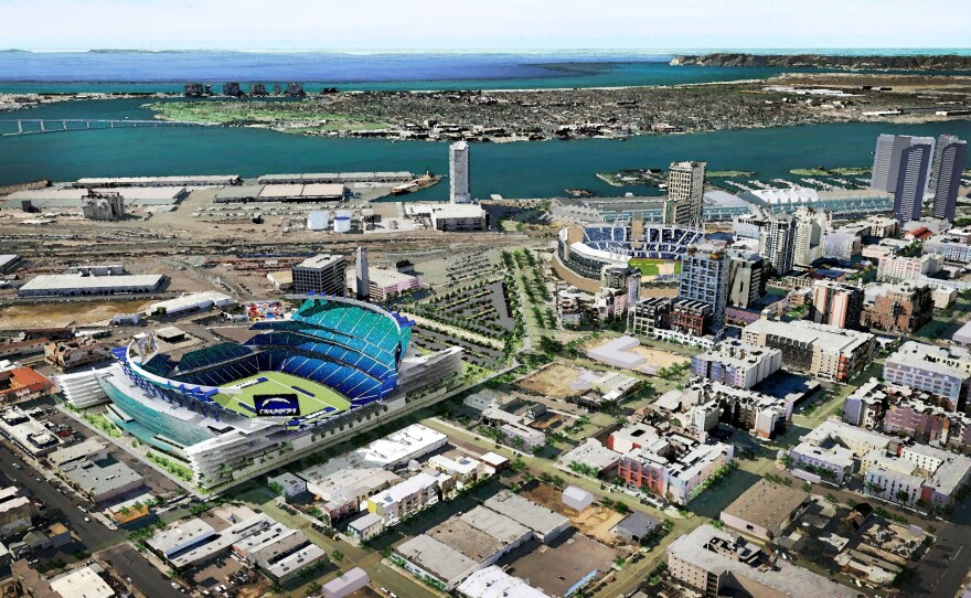 Artist's rendering of the proposed downtown stadium.