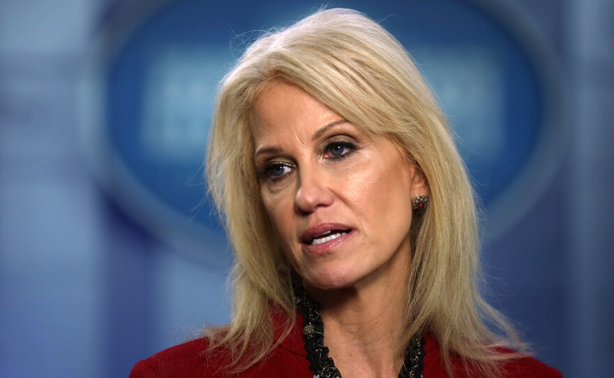 Former White House senior counselor Kellyanne Conway, pictured on Jan. 10, 2020, is one of several Trump administration officials that have been asked to resign from their military academy board positions.
