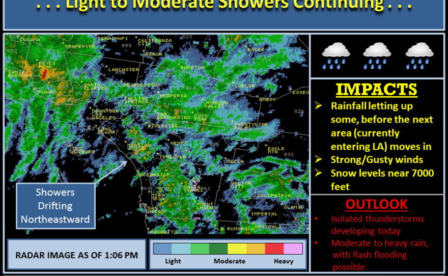 A satellite image of San Diego shows light to moderate showers continuing across the county, Feb. 28, 2014.
