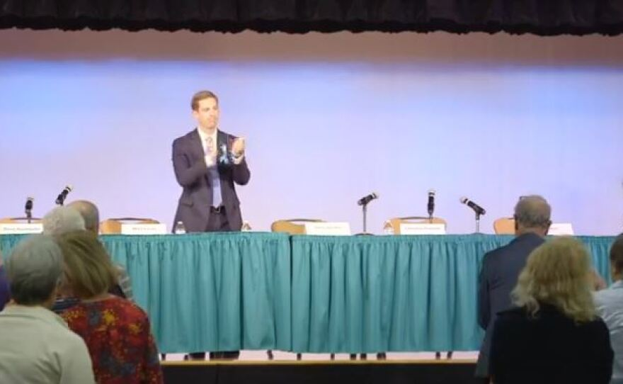 """Democrat Mike Levin has the candidates table to himself at the Flip the 49th campaign """"viability forum,"""" March 2, 2018."""