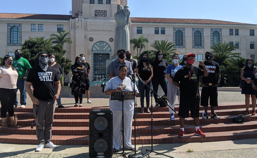 Activist Tasha Williamson speaks at a press conference announcing a lawsuit over the California gang database, Sept. 24, 2020.