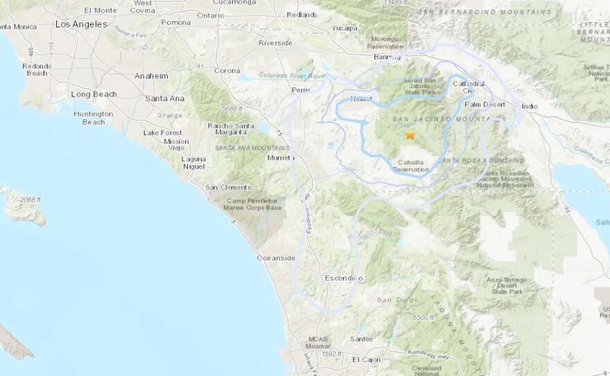 A map showing the epicenter of an earthquake near Anza in Riverside County, Sept. 21, 2021.