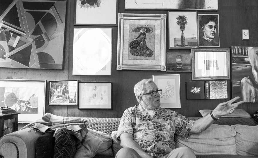 A portrait of Walter Pomeroy, who has an extensive collection of paintings and drawings by San Diego artists from the 1950s and '60s, March 9, 2016.