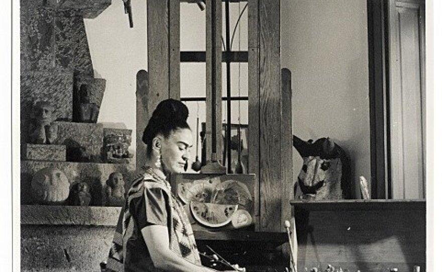 Frida Kahlo in an art studio.