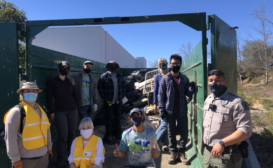"""Volunteers with the """"San Diego Habitat Conservancy"""" and """"A Cleaner North County"""" worked together to clean the Quarry Creek Preserve in Oceanside. February 18, 2021."""