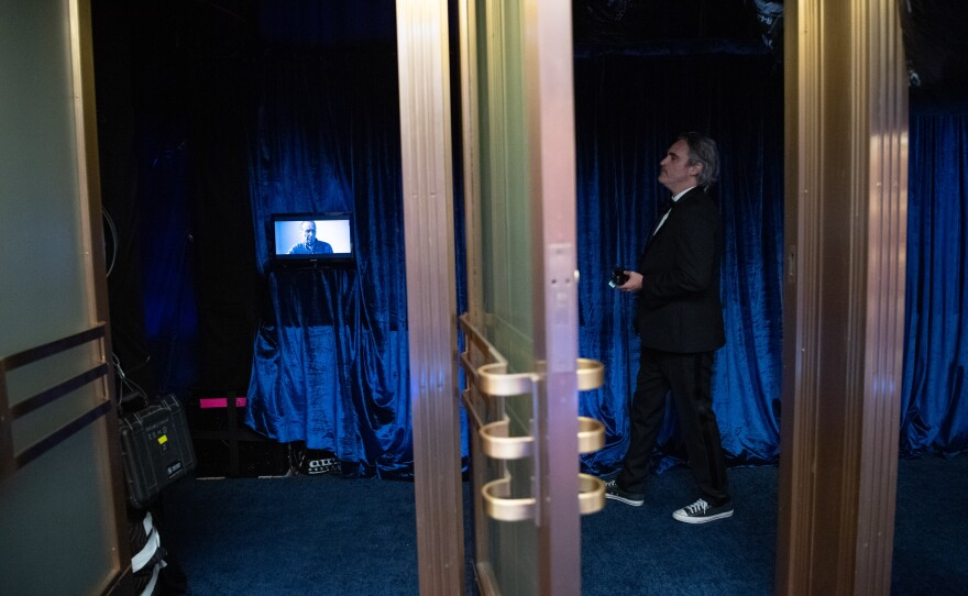 Joaquin Phoenix backstage during the live ABC Telecast of The 93rd Oscars® at Union Station in Los Angeles, CA on Sunday, April 25, 2021.