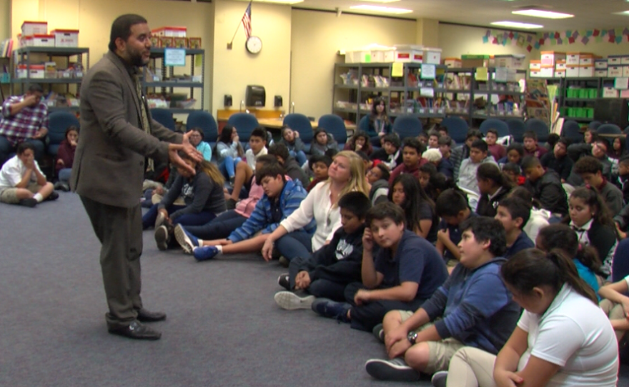 Hanif Mohebi of the Council on American-Islamic Relations speaks to students at Logan Elementary School, Feb. 2, 2017.