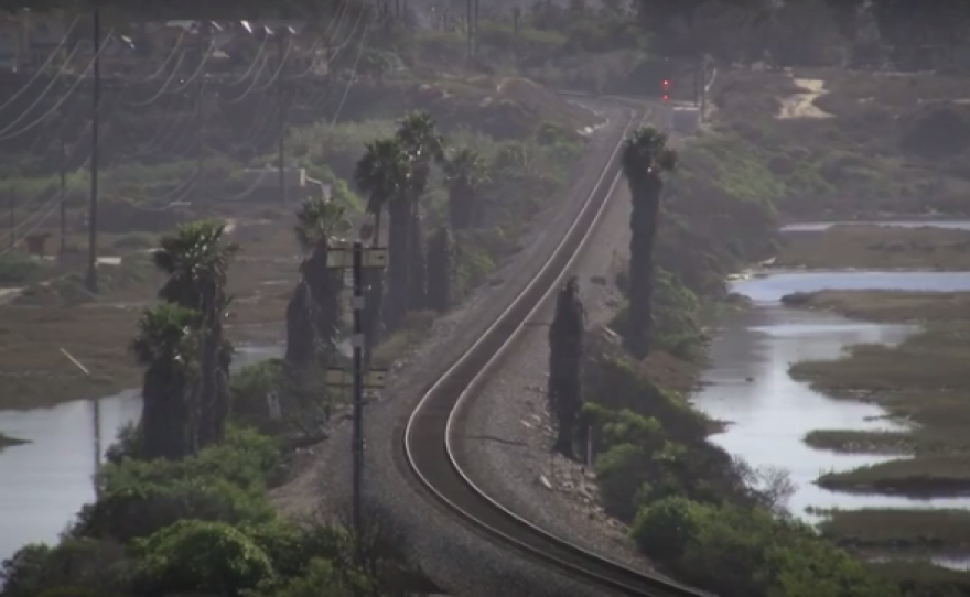 The existing single track rail line across the San Elijo lagoon