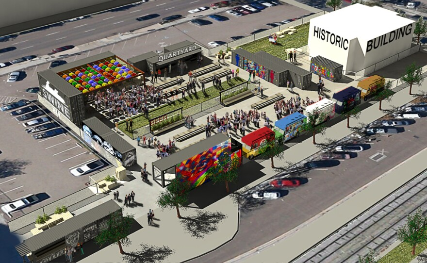 A rendering of the design for Quartyard, a temporary park set up at Park and Market streets in San Diego's East Village.