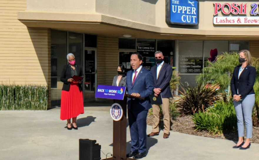 San Diego Mayor Todd Gloria speaks at press conference in Kearney Mesa, May 4, 2021.