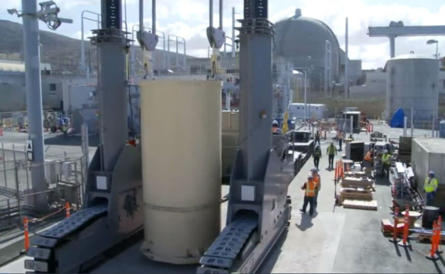 Radioactive spent fuel rods in giant canisters being transferred from spent fuel pools to concrete silos on site at San Onofre, March 2018