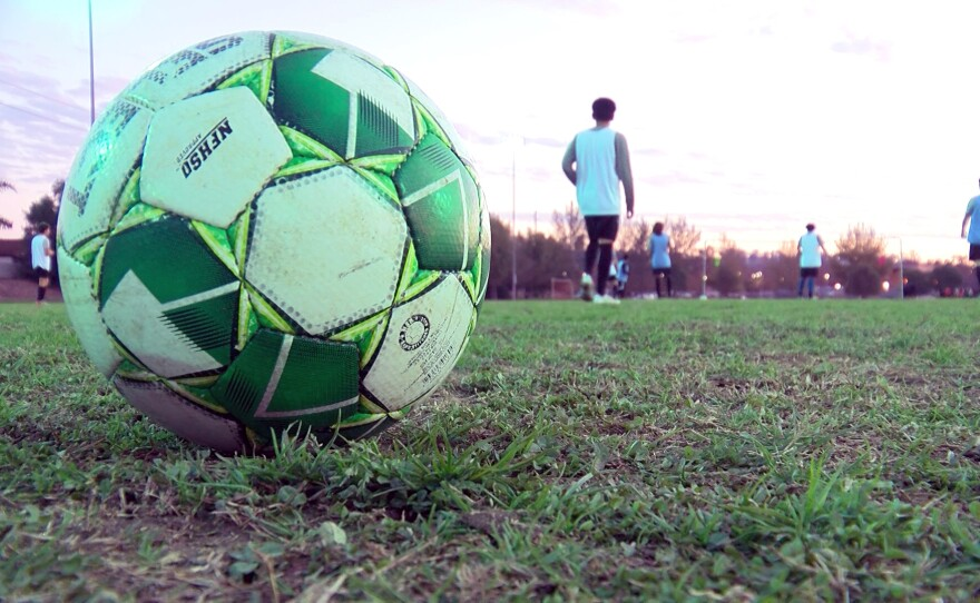Soccer ball at Mance Buchanon Park in Oceanside where the Oceanside Breakers soccer team practice with COVID-19 restrictions. Nov. 12, 2020.