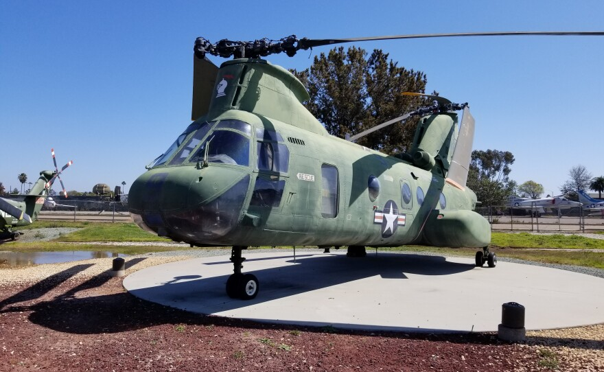 """""""Lady Ace 09"""" - the helicopter that lifted the American ambassador out of Saigon on April 29, 1975 is shown at the Flying Leathernecks Museum on March 18, 2021."""