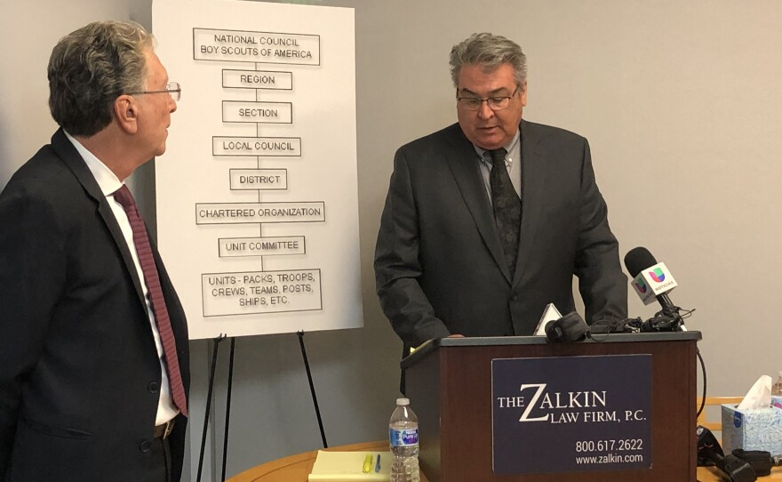 Michael Hernandez speaks to reporters about allegedly being sexually abused as a boy scout at a press conference at the Zalkin Law Firm in San Diego on February 19, 2020.