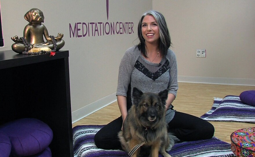 Amanda Ringnalda and her dog Pepper during a Wellbeing for Dogs + Their Humans class, Feb. 22, 2017.