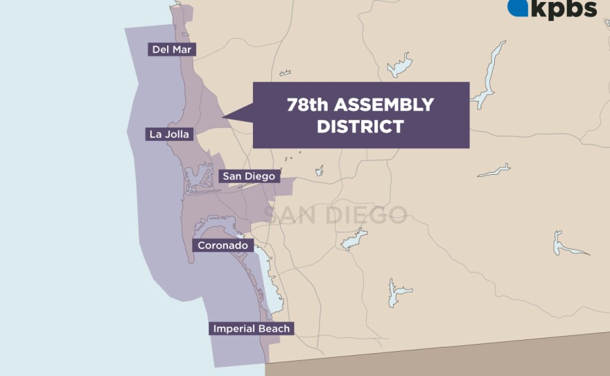 A map of the 78th Assembly District includes Del Mar, La Jolla, part of the city of San Diego and Imperial Beach.