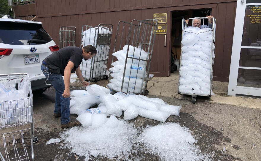 Owners at the Laguna Mountain Lodge dump ice they were planning to sell Labor Day weekend on Aug. 31, 2021.