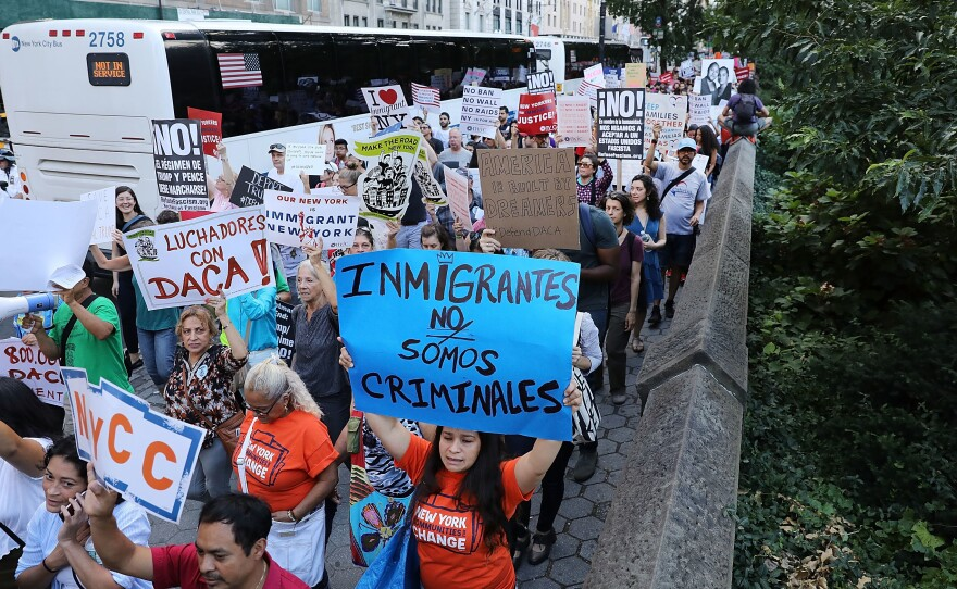 Hundreds of immigration advocates and supporters attend a rally and march to Trump Tower in support of the Deferred Action for Childhood Arrivals program, also known as DACA, on Wednesday in New York City.