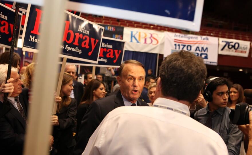 Congressman Brian Bilbray (R) talks to reporters at Golden Hall on November 6, 2012.