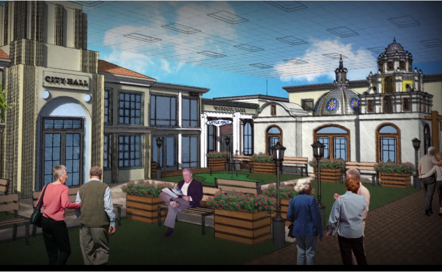 An artist rendering featured in an undated promotional video by Glenner Town Square.