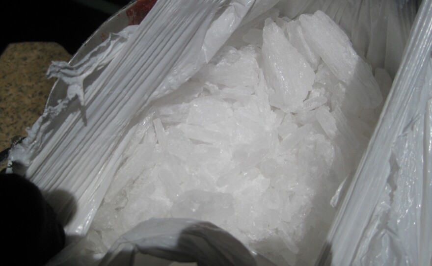 The methamphetamine weighed 12.87 pounds and is worth $128,700 according to the US Border Patrol, May 30, 2014.