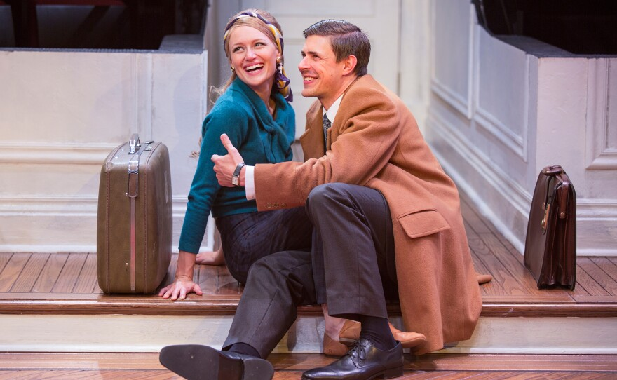 """Kerry Bishé as Corie Bratter and Chris Lowell as Paul Bratter in """"Barefoot in the Park,"""" by Neil Simon, directed by Jessica Stone, running July 28 through Sept. 16 at The Old Globe."""