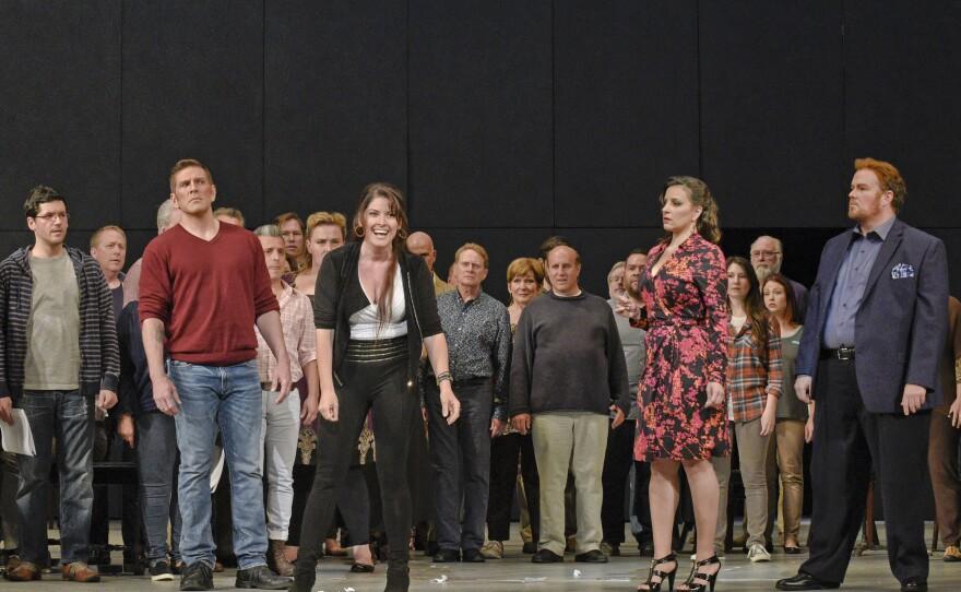 "(L-R) Bass-baritone Michael Mayes is Wendell Swann, mezzo-soprano Kate Aldrich is Arden Scott, soprano Joyce El-Khoury is Tatyana Bakst, and tenor Garrett Sorenson is Anthony Candolino in San Diego Opera's ""Great Scott,"" an opera about putting on an opera."