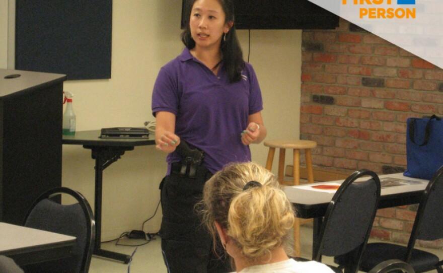 Wendy Hauffen teaches a gun safety course in this undated photo.