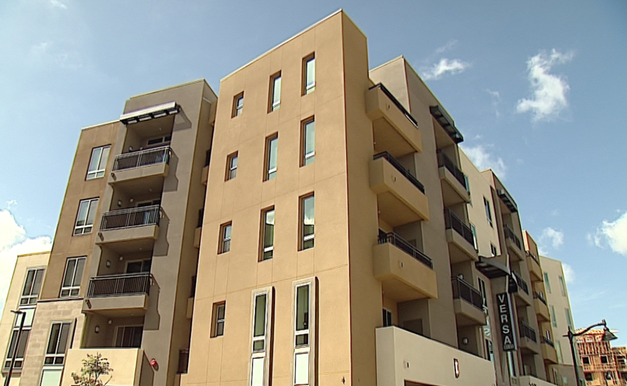 An apartment complex within the Civita development is pictured. The complex offers affordable housing to seniors.