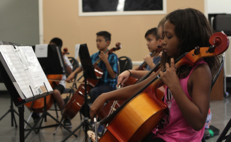 Students at Kellogg Elementary in Chula Vista, California, practice music after school.