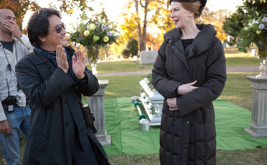 """Park Chan Wook on the set of """"Stoker"""" with actress Nicole Kidman."""