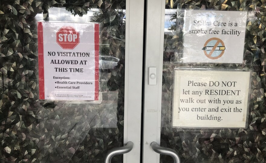 Signs in front of the Stellar Care senior living facility limiting guests during the COVID-19 pandemic, March 26, 2020.