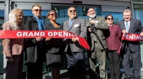 Palomar College President Joi Lin Blake (third from left) is shown at the grand opening of the school's $67 million library on Feb. 22, 2019.